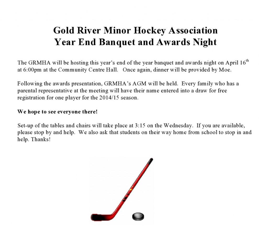 Gold River Minor hokejová asociácia Year End Banquet