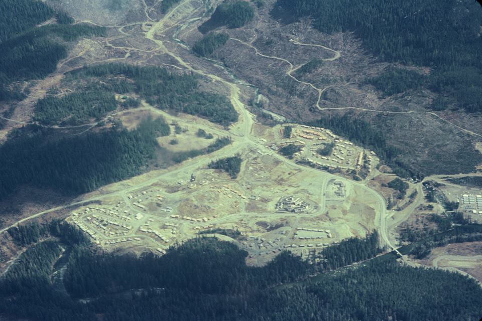 Aerial view of townsite 1966