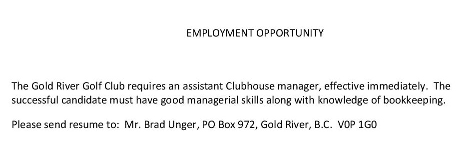 EMPLOYMENT OPPORTUNITY grgc