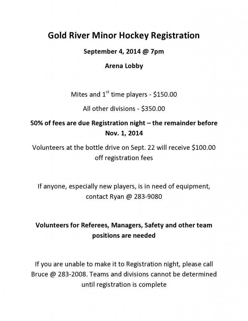Gold River Minor Hockey Registrácia