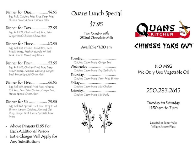 Quans Kichen Menu - avec déjeuner avant spécial page