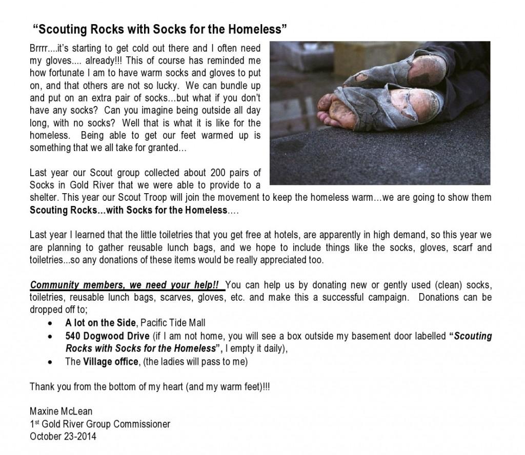 Skauting skaly s ponožkami pre bezdomovcov