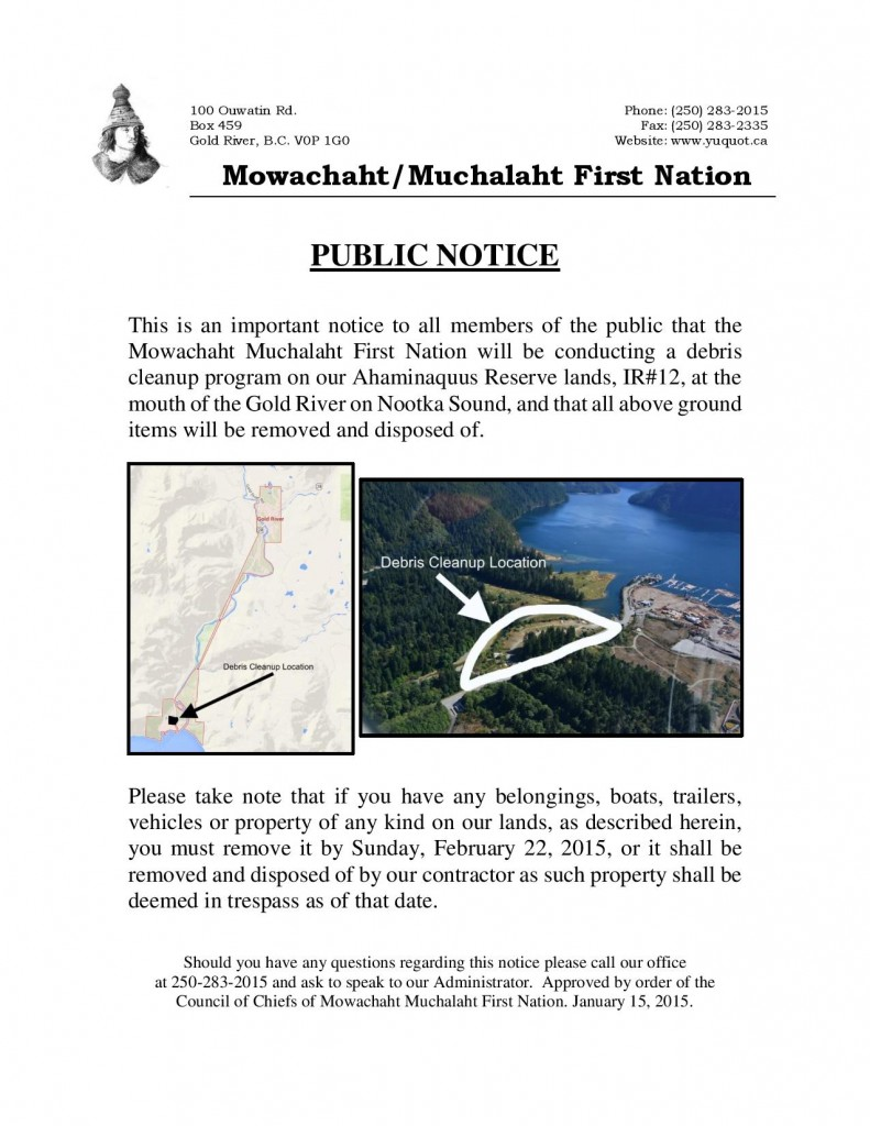 PublicNotice-DebrisCleanup-MMFNWaterfront