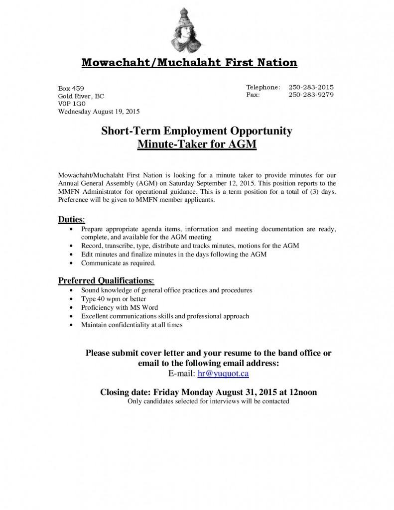 AGM Minute Taker - Job Posting