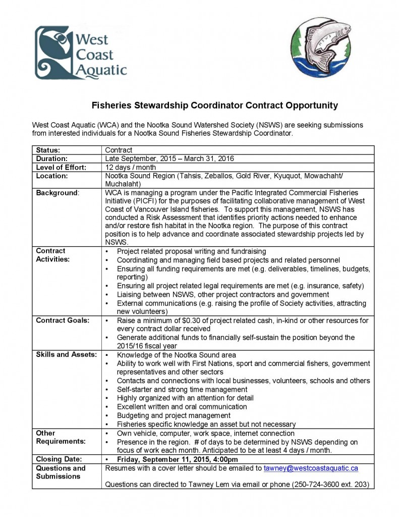 Nootka Fisheries Stewardship Coordinator Posting-page