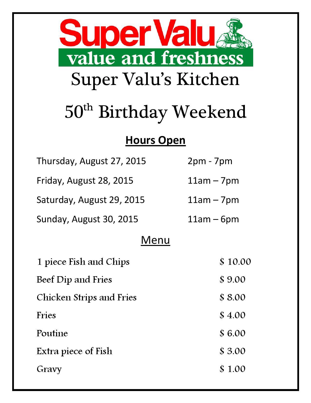 50th birthday menu at super valu 繧筬 gold river buzz