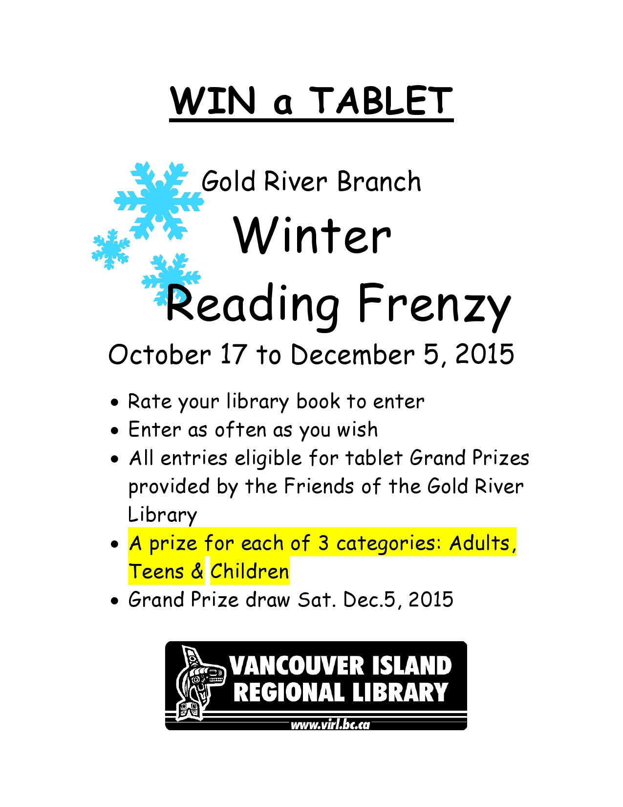Winter Reading Frenzy 2015 poster