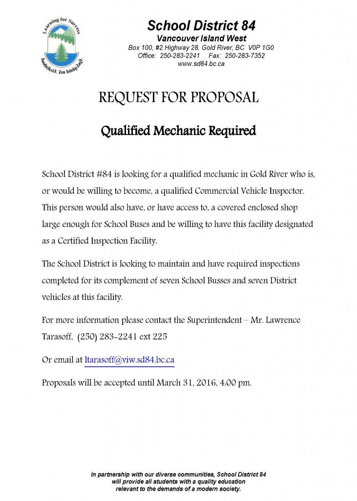 RFP - Mechanic Required