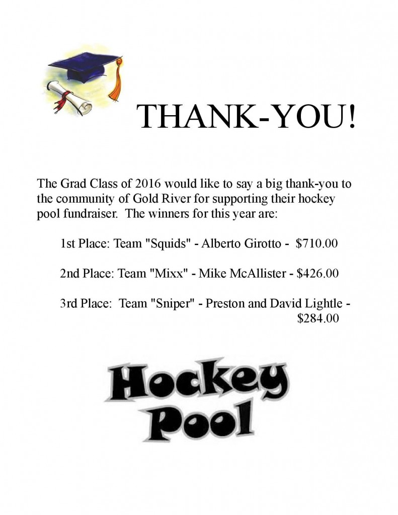 hockey pool fundraiser winners