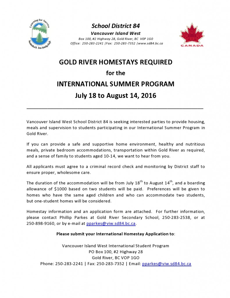 Homestays - Notice for Gold River