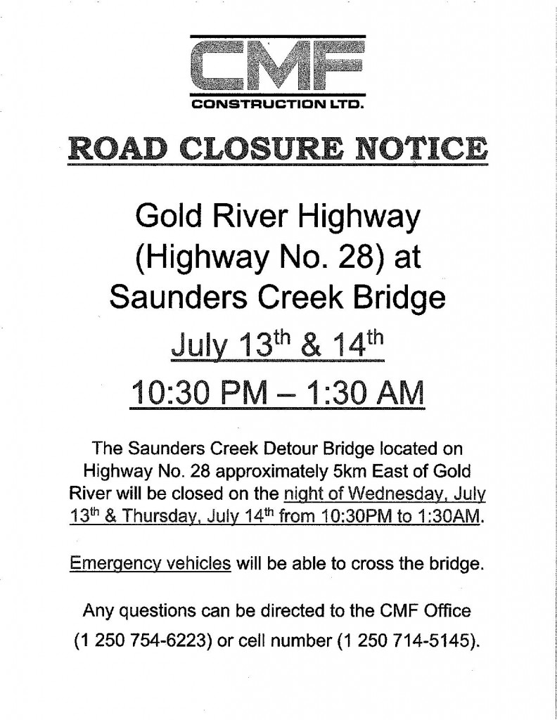 Hwy 28 Notice of Closure