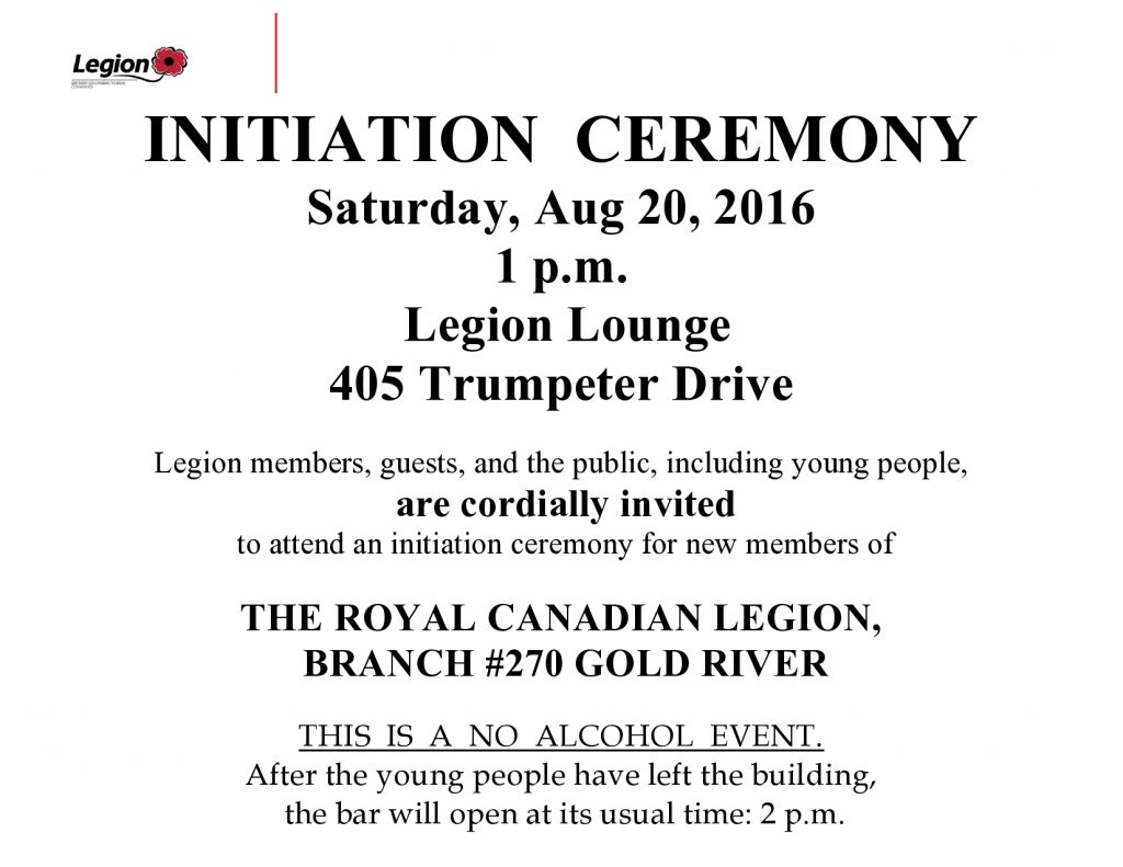 Notice of Legion Initiation Ceremony  Aug 20  2016