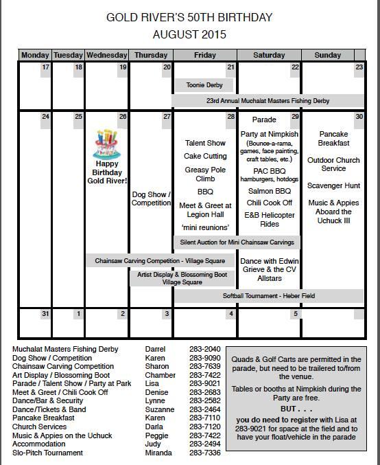 Gold River 50th Events Calendar