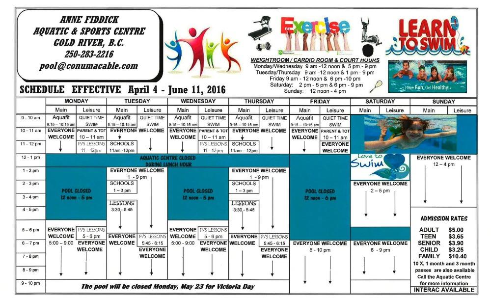 Spring 2016 Pool Schedule