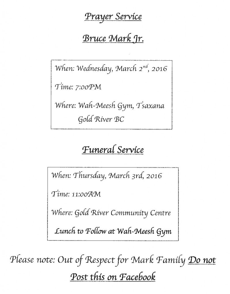 Funeral Notice Bruce Mark Jr