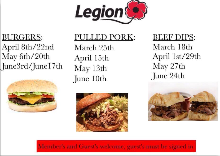 Legion Dinner Schedule