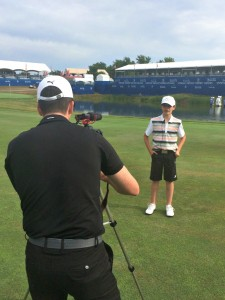 Preston getting interviewed by media