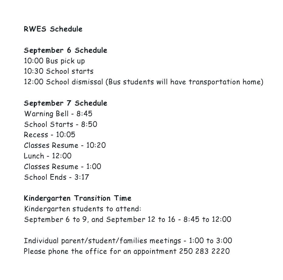 RWES Schedule