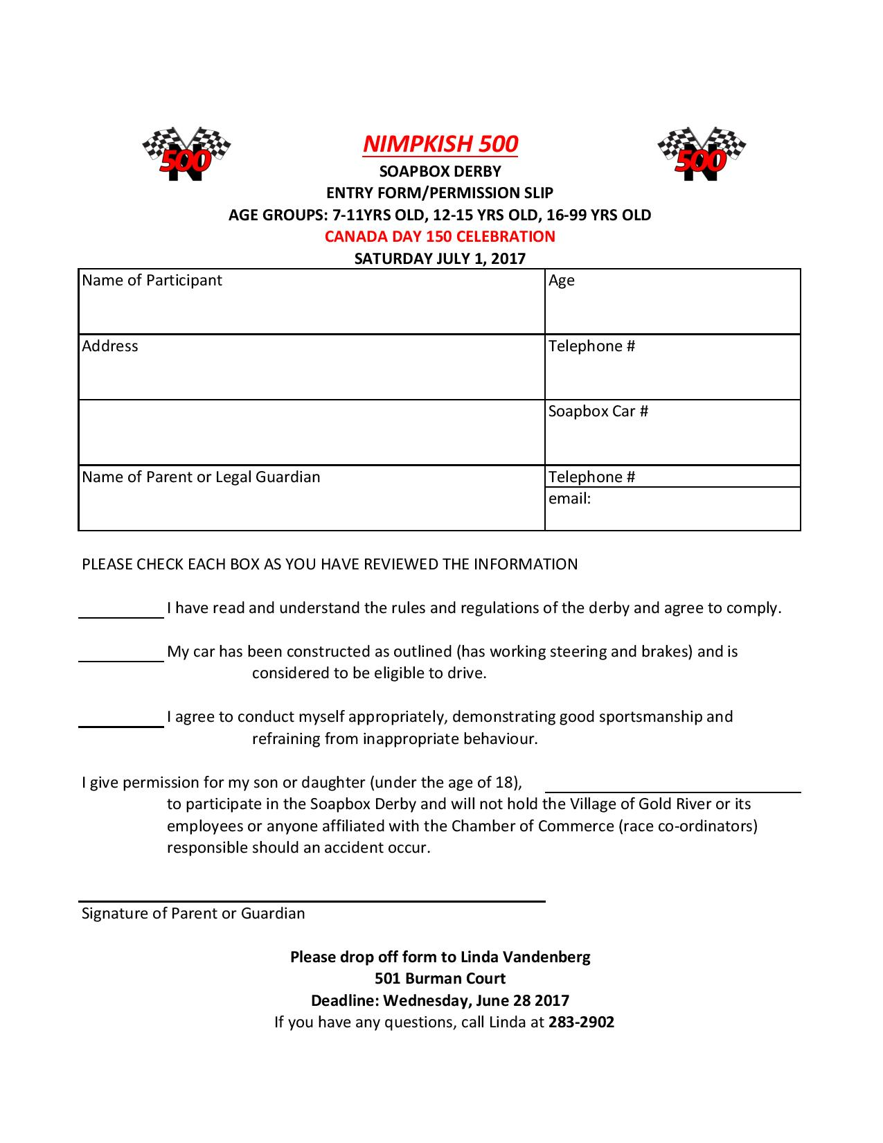 Canadas 150th buzz gold river buzz soapbox derby permission slip solutioingenieria Gallery